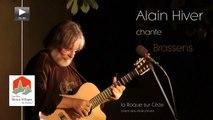 Alain Hiver chante Brassens place des Marronniers la Roque sur Cèze Gard