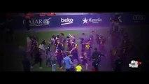 Leo Messi celebrando con su hijo Thiago el titulo de Campeon de Liga 2014/2015