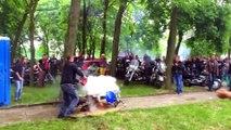 Un Burn en moto qui tourne mal : la moto fini en feu... FAIL