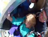 Sky Dive Fail-80 year old woman sky dive goes wrong, almost falls out of parachute plunges, HD