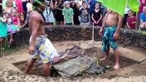 Maui Gim --  Kalua Pig Ceremony Kaanapali Sunset Luau at Black Rock, Maui, Hawaii