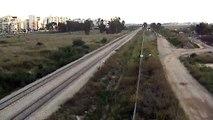 Israel Railways northbound train approaching Netanya station