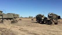 US Marines Firing the Extremely Powerful Multiple Rocket Launcher 142 HIMARS
