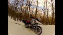 Bmw Gs 1150 Off Road, snow, fast driving and crash