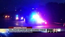 Oklahoma police officer shot in head, crashes cruiser during highway chase