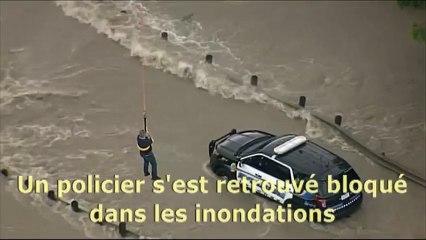 Un policier sauvé des inondations par un hélicoptère