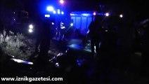 İznik Çevre Yolunda korkunç kaza 1 kişi öldü 3 kişi yaralandı