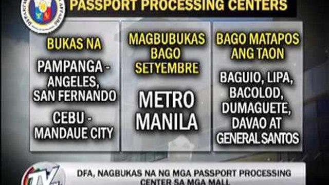 Newsbytes - TV Patrol - DFA opens passport processing centers in malls