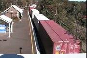 Freight Train Through Bullaburra Station - Australian Trains, New South Wales