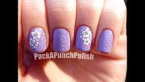 Subtle Purple Swirls With Accent Flowers Nail Art Tutorial