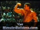 Arnold Schwarzenegger on stage 1980 Mr Olympia
