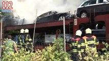 Autotrein in brand op spoor bij Terschuur