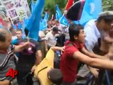 Raw Video: Uighur Protest at Chinese Embassy