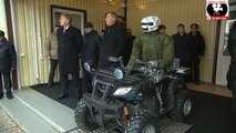 Russian President Putin meets Russian battle android
