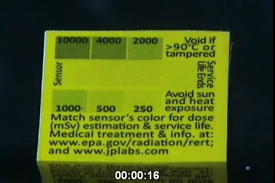 "RadSticker  radiation monitor geting zapped by x-rays  (subtract a ""0"" to get Rads) Rad Sticker"