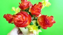 How to Make Strawberry Flowers - Strawberry Art Red Rose - Fruit Carving Strawberries Garnishes