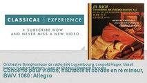 Jean Sébastien Bach : Concerto pour violon, hautbois et cordes en ré mineur, BWV. 1060 : Allegro