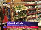 România. Prima zi cu TVA redusă la alimente și băuturi nealcoolice. Statul ia doar 9% din 24% din prețul brut al produselor, ceea ce înseamnă că și prețurile de la raft trebuie să scadă cu cel puțin 12%.