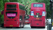 (HD) London Buses arriving and leaving Canada Water Bus Station