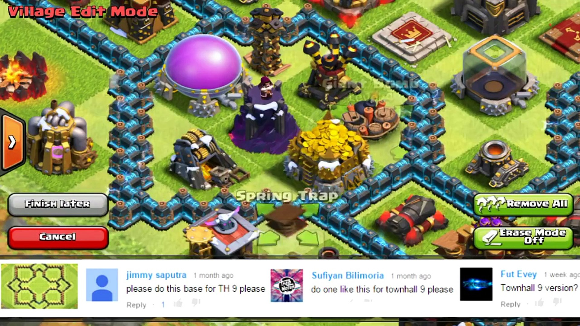 Clash of Clans - BEST Town Hall 9 Defense Trophy Base - NEW Speedbuild 2015  With Defensive Replay! - video dailymotion