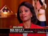 Condoleezza Rice interviewed by Blitzer. 3) Rice for V.P.?