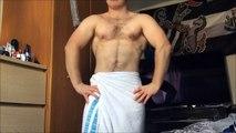 Hairy Teen Muscle Boy Jake Flexing in The Shower, Plus Surprise Glute Flex