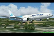 Air France KLM Boeing 777  landing at Amsterdam schiphol