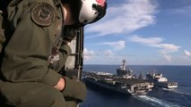 Aircraft Carrier USS Carl Vinson Refuels at Sea by Indian Navy   AiirSource