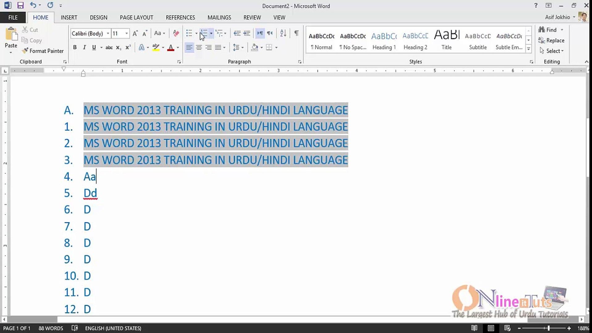 MS Word 2013 Tutorial in Urdu/Hindi (Part-04)
