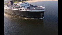 SS Badger Leaving Ludington, Aerial View, July 14, 2014