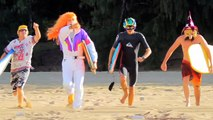 Koa Smith and the boys bodyboard shorebreak