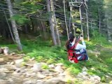 Icy Strait Point - World's tallest and longest Zipline - 60MPH! Very clear shot!