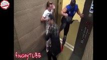 Asansöre binenler karşsında ninja görünce ne yapacağını şaşırıyor
