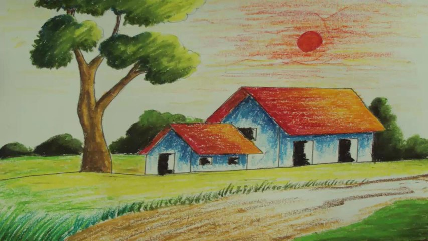Pastel Painting How To Draw A Simple Landscape Video Dailymotion