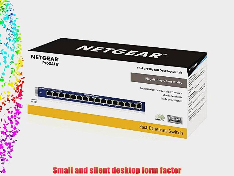 NetGear ProSafe FS116 16-Ports 10//100 Fast Ethernet Desktop Switch 16 port