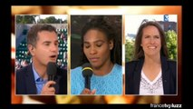 Serena Williams France 3 interview & drinking champagne with Justine Henin after French Open 2015