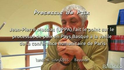 JP Massias fait le point sur le processus de paix en Pays Basque avant la conférence de Paris