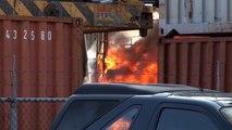 Brandende heftruck zorgt voor rookpluim boven Westerbroek - RTV Noord