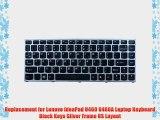 Replacement for Lenovo IdeaPad U460 U460A Laptop Keyboard Black Keys Silver Frame US Layout