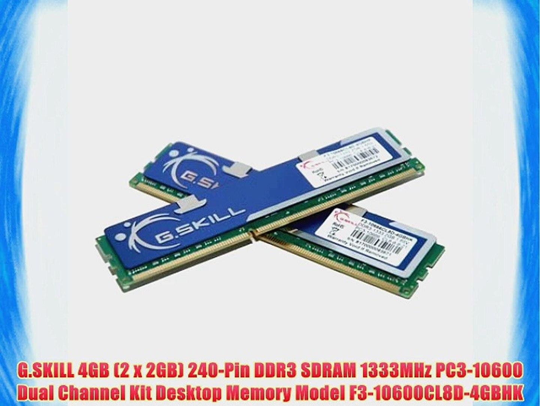 F3-128000CL7D-4GBRM PC3-12800 DDR3 non-ECC Unbuffered 2 X 2GB G Skill 4GB Kit