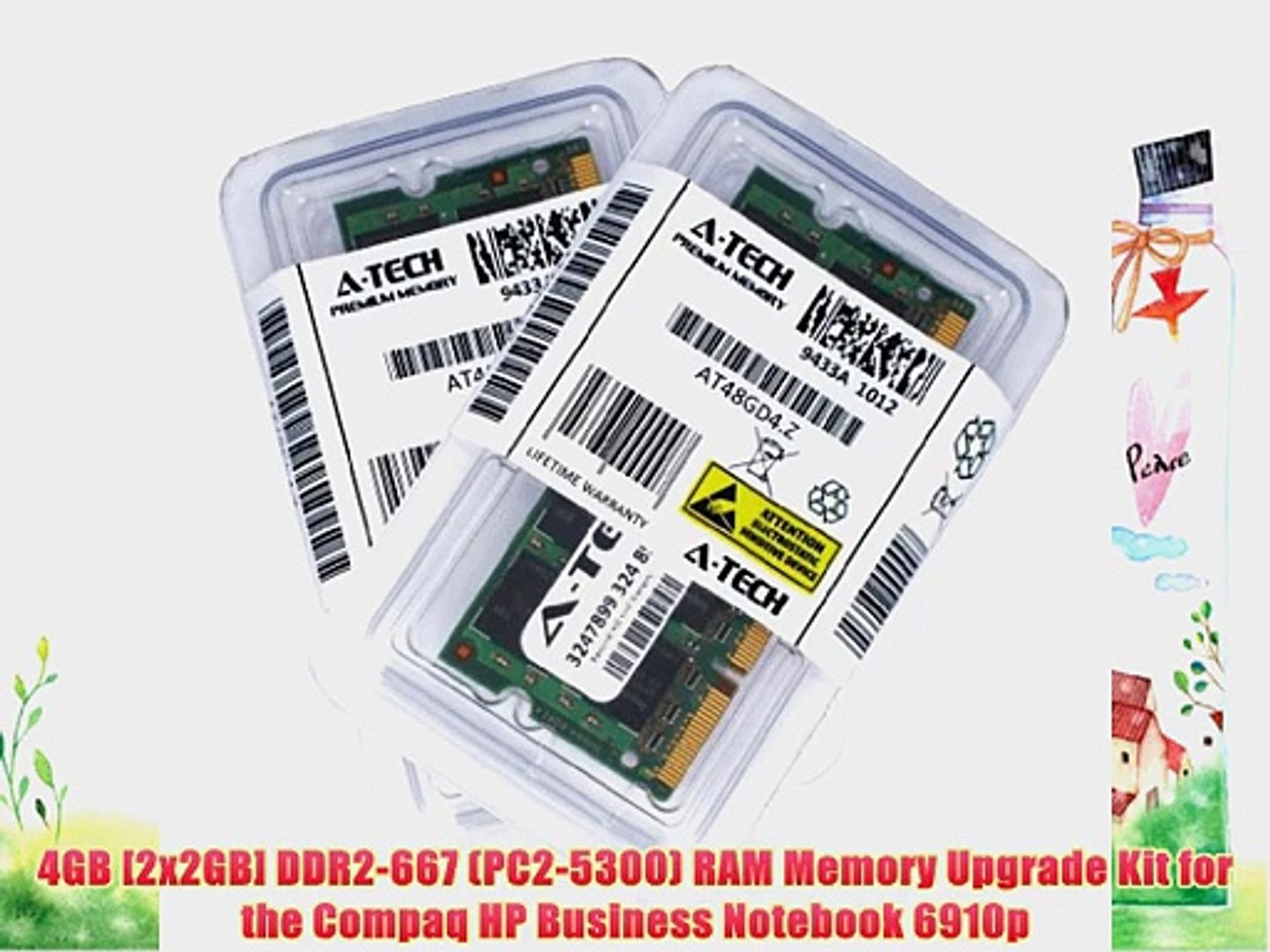 4GB [2x2GB] DDR2-667 (PC2-5300) RAM Memory Upgrade Kit for the Compaq HP Business Notebook