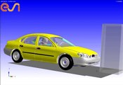 Frontal impact simulation with barrier