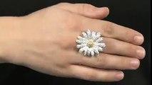 CZ By Kenneth Jay Lane CZ Two-Tone Daisy Ring SKU: #7893696