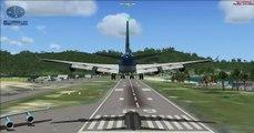 FSX-Atterrissage à St Martin TNCM en Boeing 747 Corsair fly / Landing at St Maarten TNCM