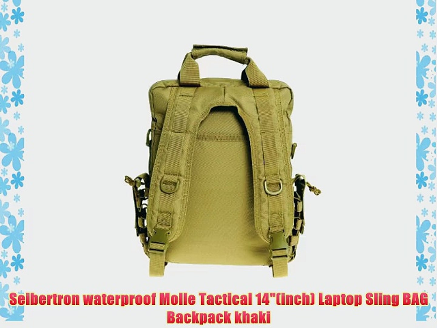 eed00bca85bf Seibertron waterproof Molle Tactical 14(inch) Laptop Sling BAG Backpack  khaki