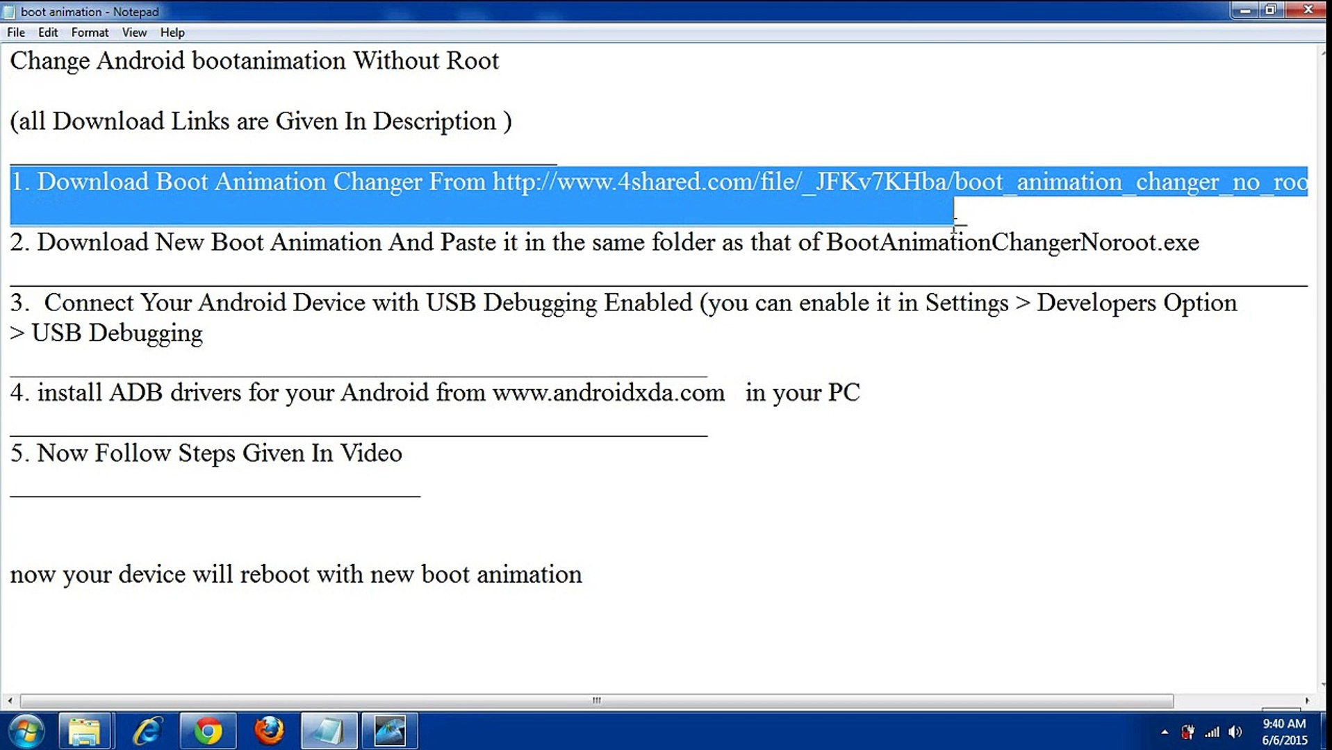 change android boot animation without root