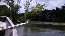 Colorado River in jon boat with long tail motor