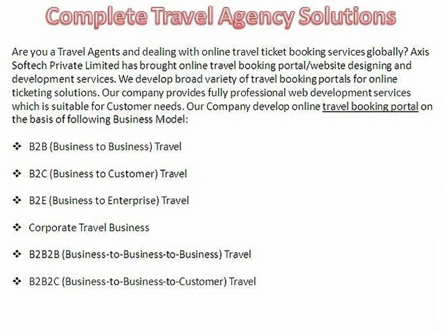 Website for Travel Agency, B2B Portal for Travel Agents