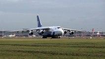 Strong wind landing of Polet Aviakompania Antonov An-124 RA-82077 at Hamburg Airport