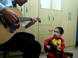 dad and 2yr old baby sing beatles dont let me down